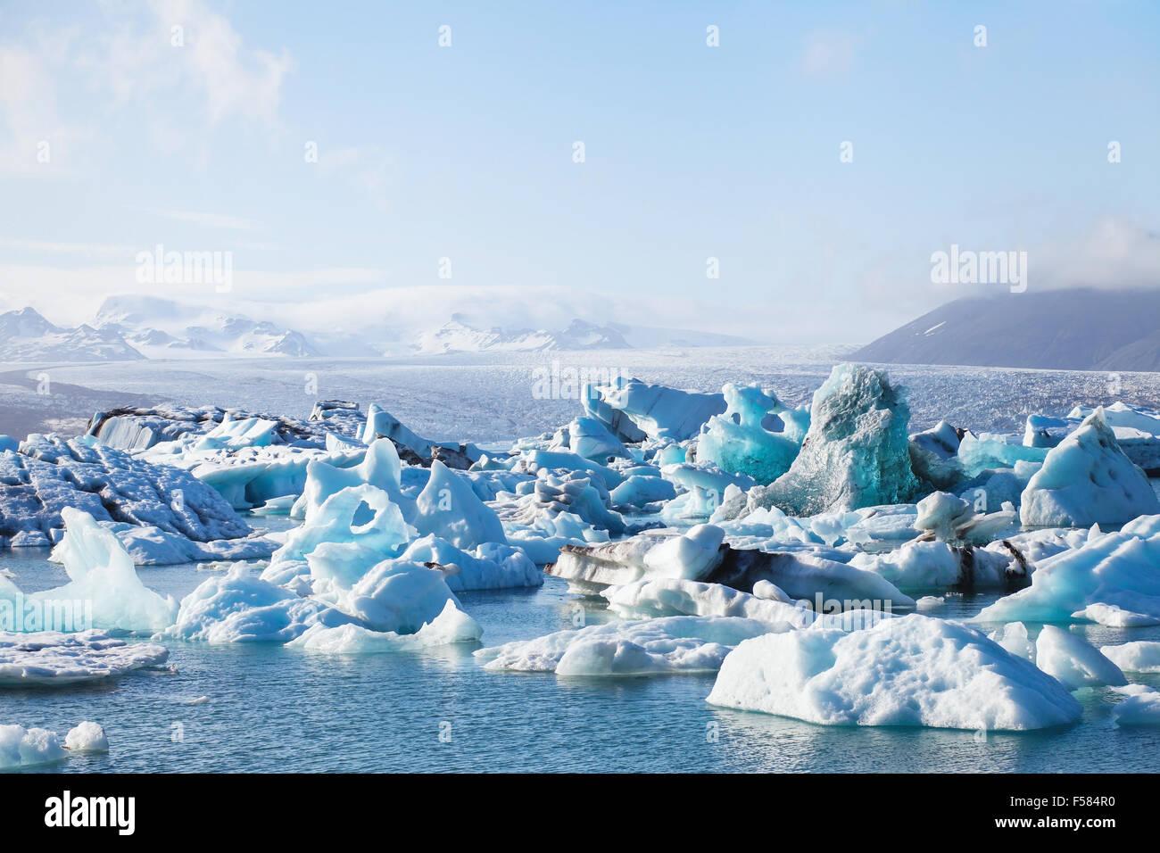 glacier lake in Iceland - Stock Image