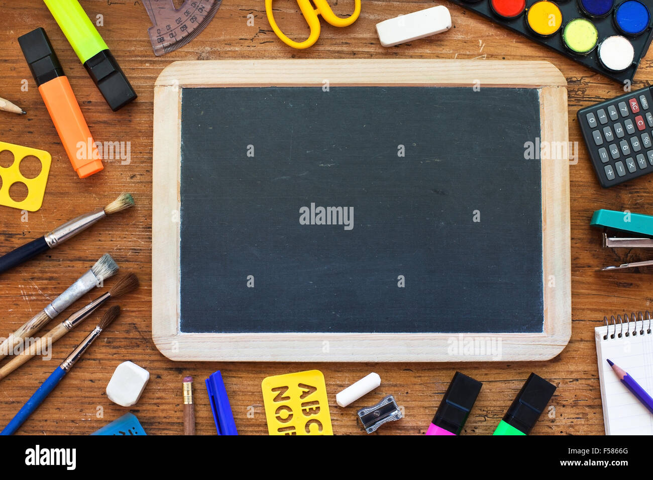 school background with chalkboard - Stock Image