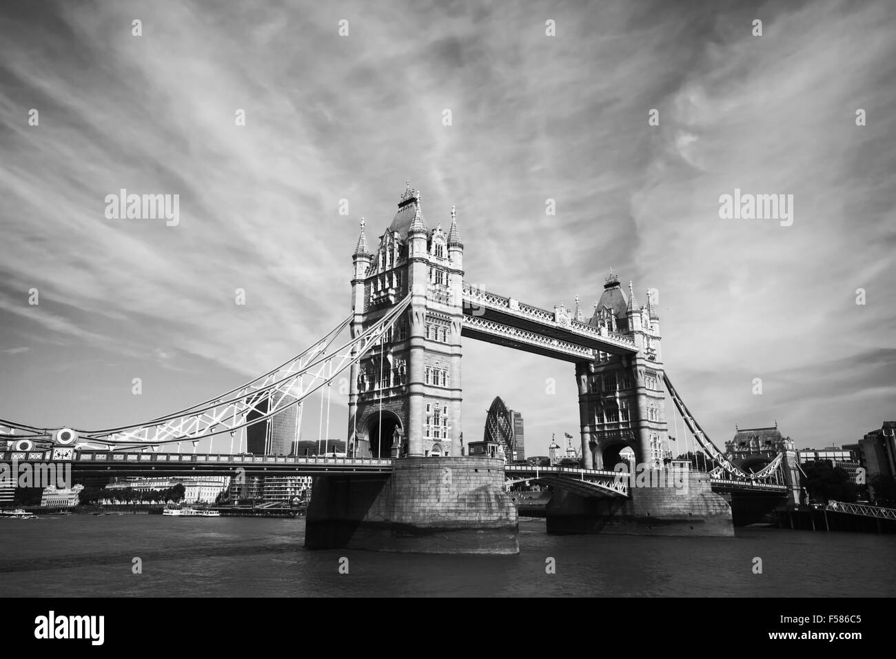 monochrome view of Tower Bridge in London - Stock Image