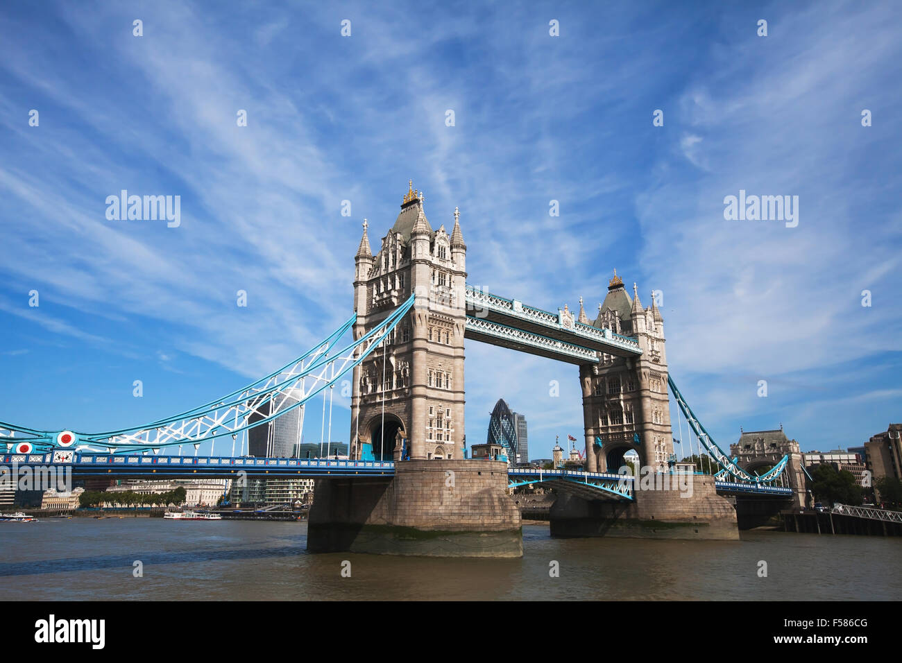 Tower Bridge in London with blue sky - Stock Image