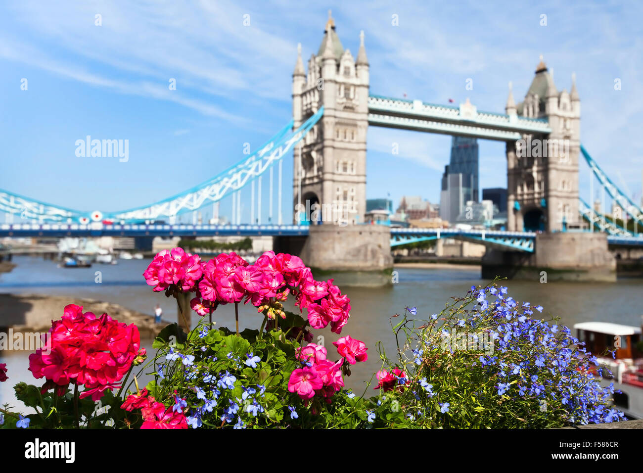 London view in summer, Tower Bridge, UK - Stock Image