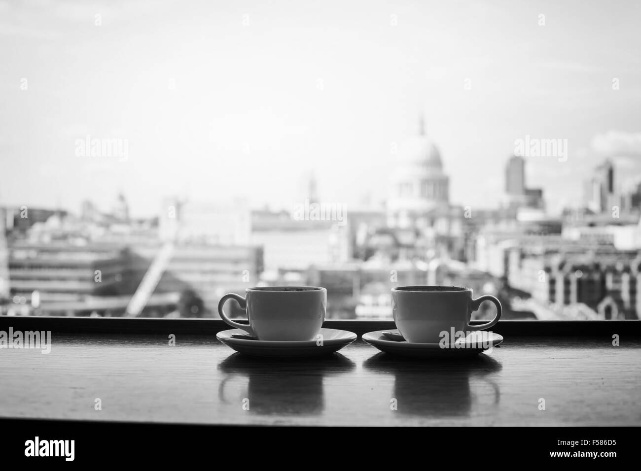 Black And White View Of London With Two Cups Coffee Near St Paul Cathedral