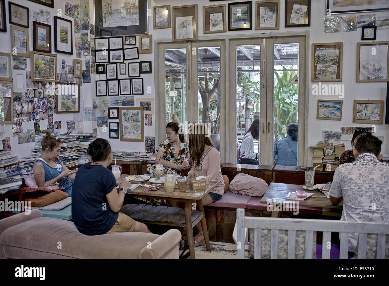Art Cafe Interior With Walls Adorned Of Artists Work Pattaya Stock Photo Alamy