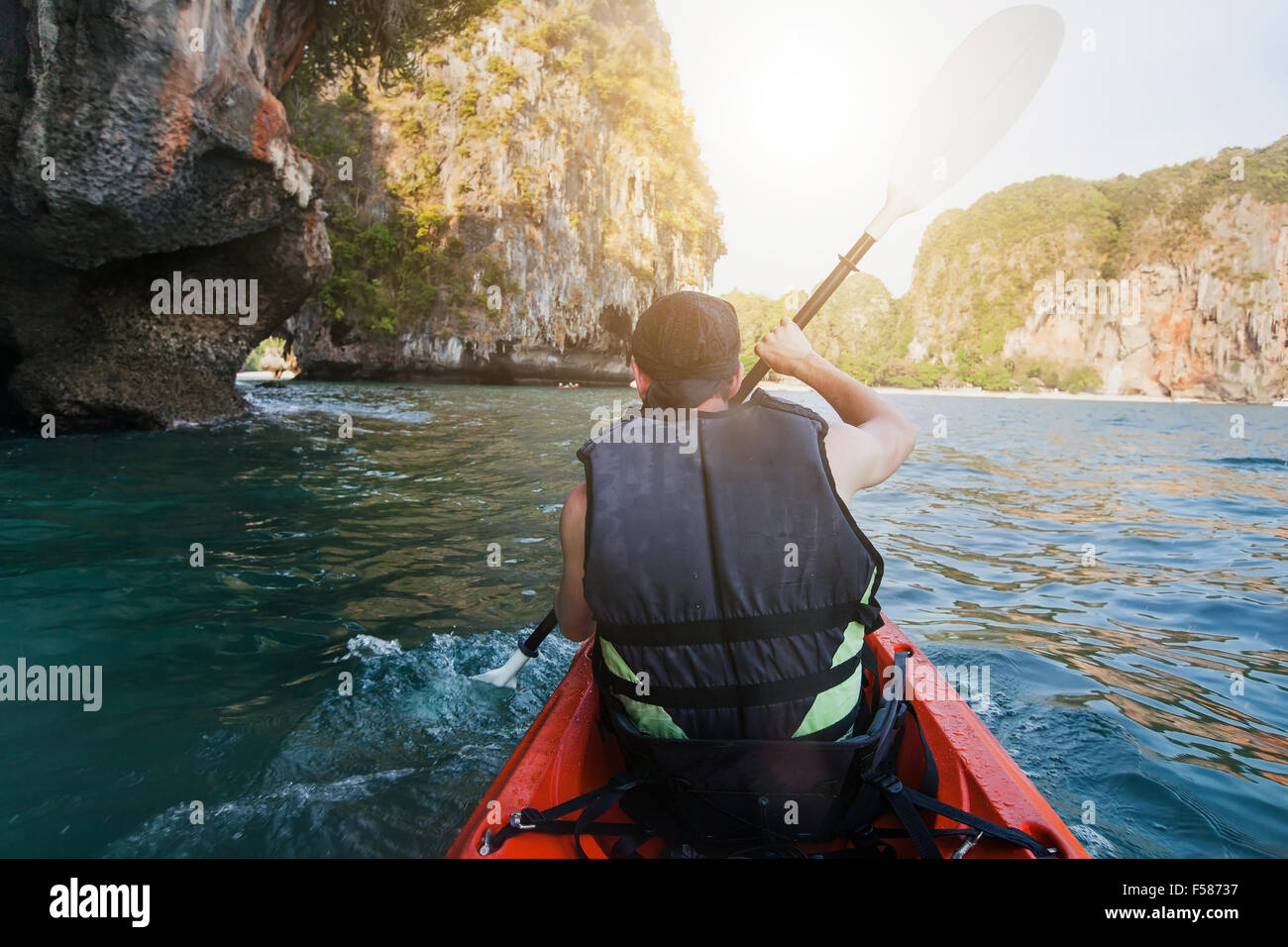 kayaking, sea adventure - Stock Image