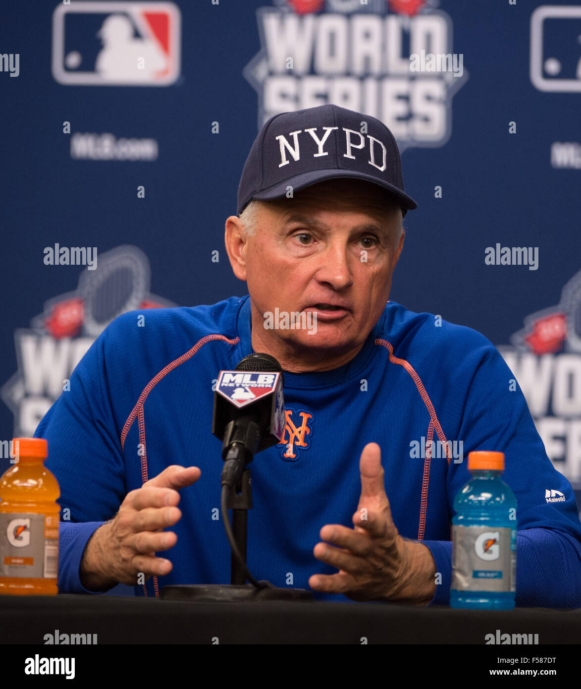 New York, NY, USA. 29th Oct, 2015. New York Mets manager TERRY COLLINS speaks at a press conference during World - Stock Image