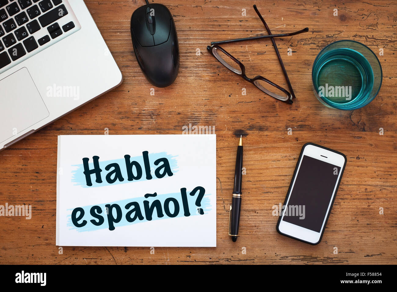 do you speak spanish, Habla español - Stock Image
