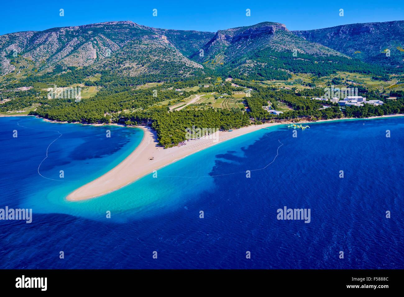 Croatia, Dalmatia, Brac island, Bol, Zlatni Rat (Golden Cape) beach Stock Photo