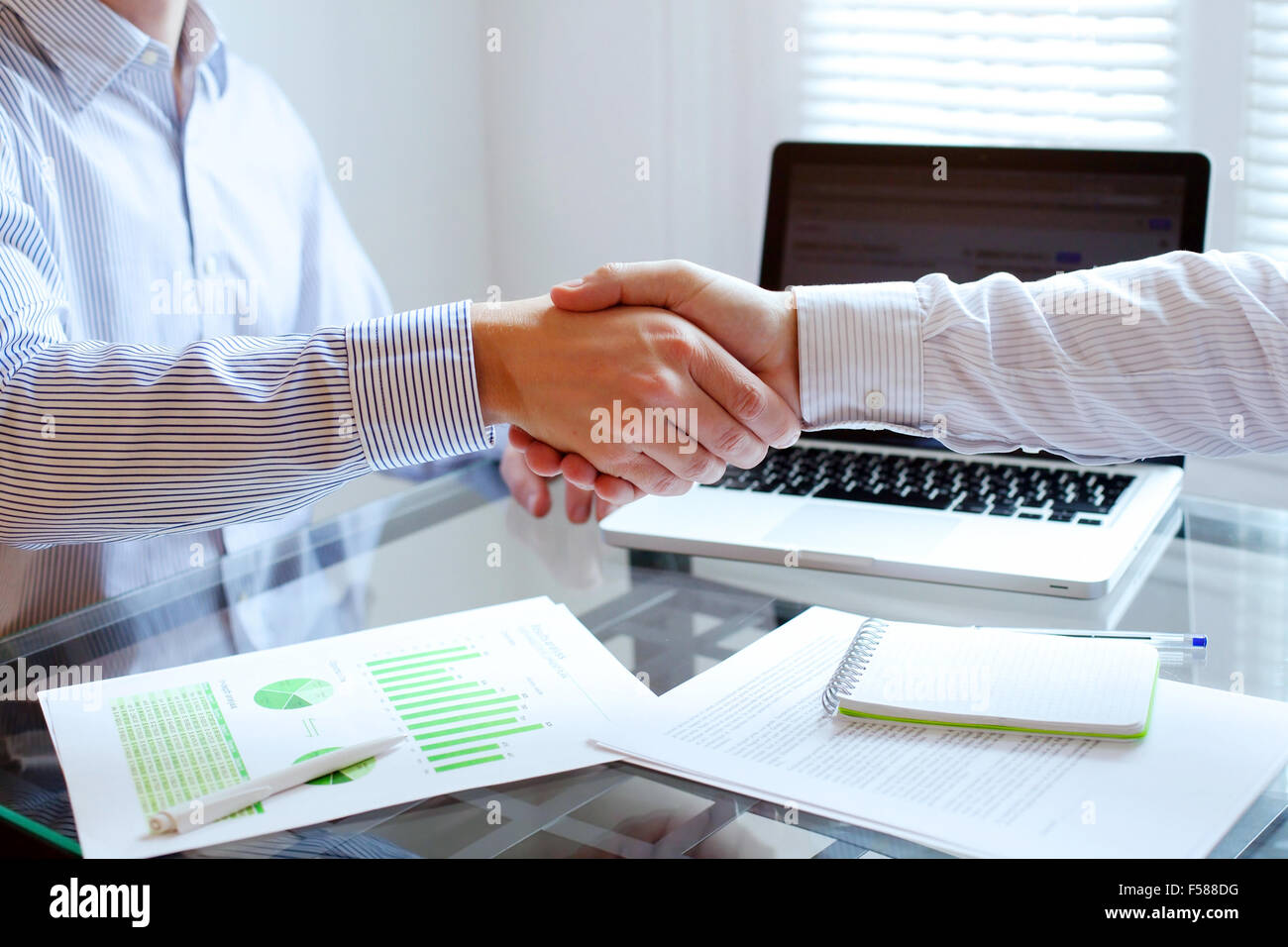business meeting, handshake close up in office background - Stock Image