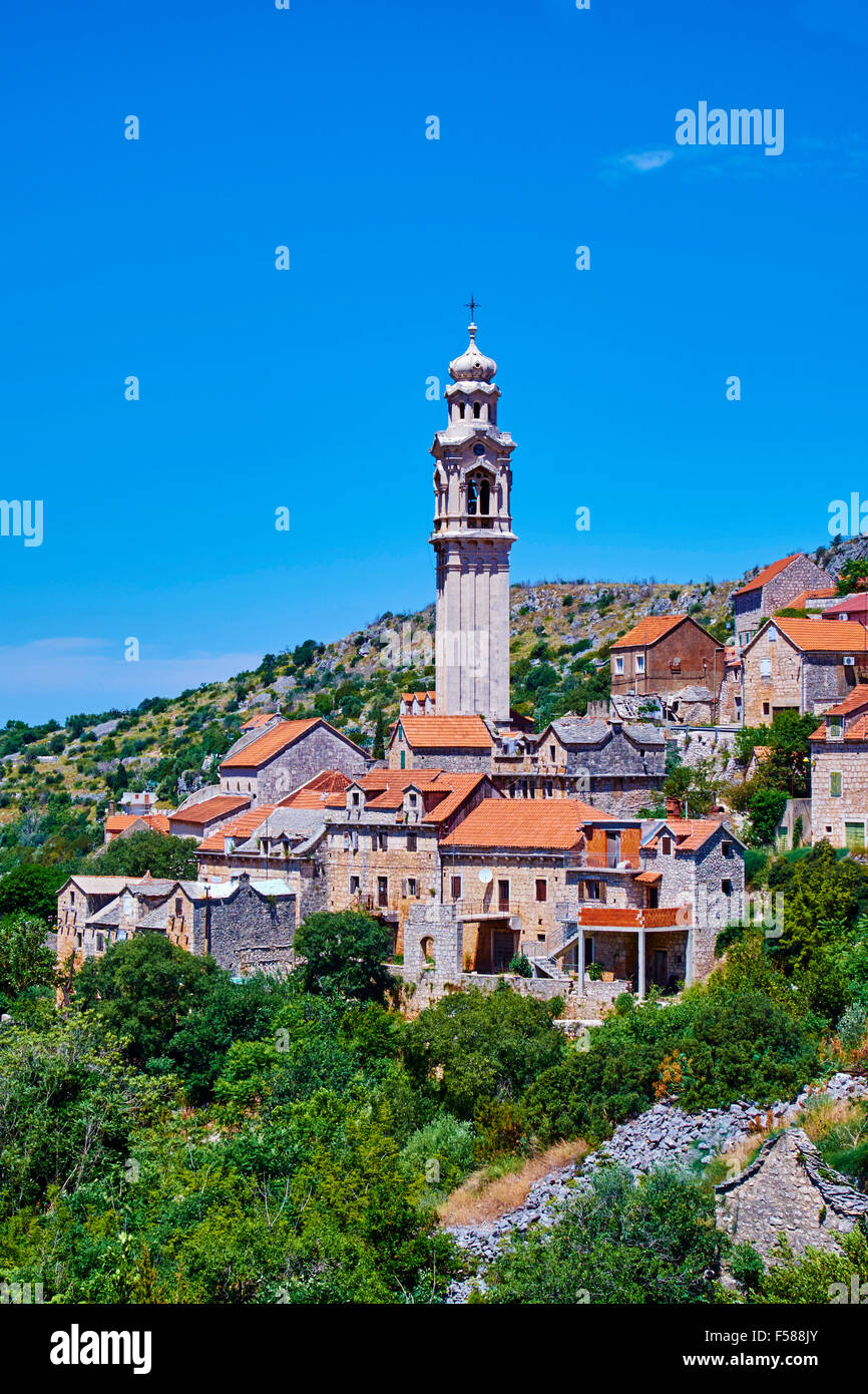 Croatia, Dalmatia, Brac island, Lozisca village, the most important campanile of the island - Stock Image