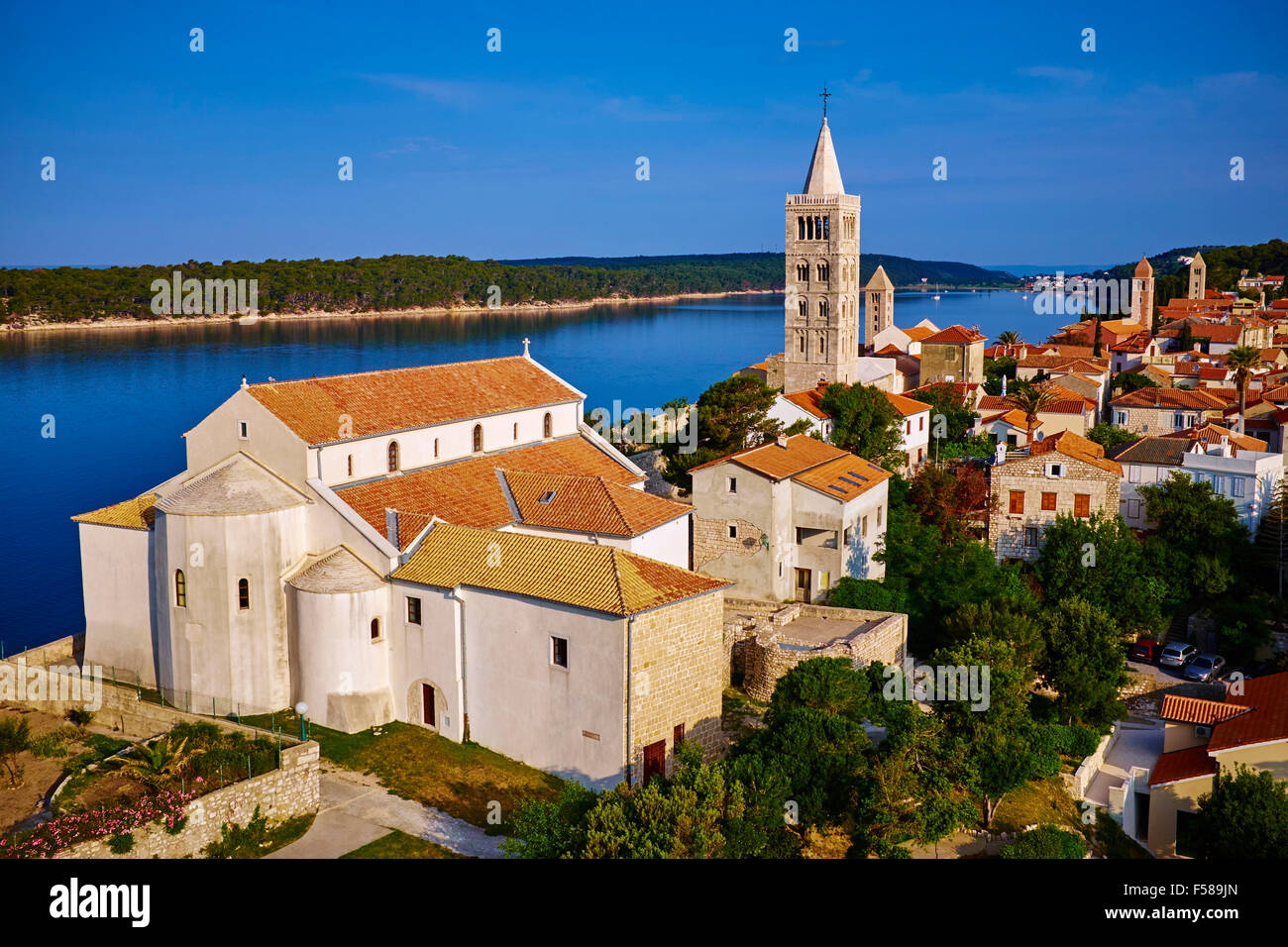 Croatia, Kvarner bay, island and city of Rab, succession of bell towers Stock Photo