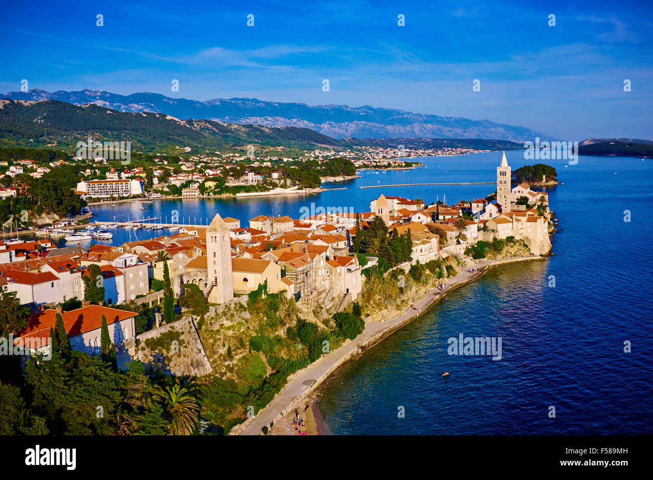 Croatia, Kvarner bay, island and city of Rab - Stock Image