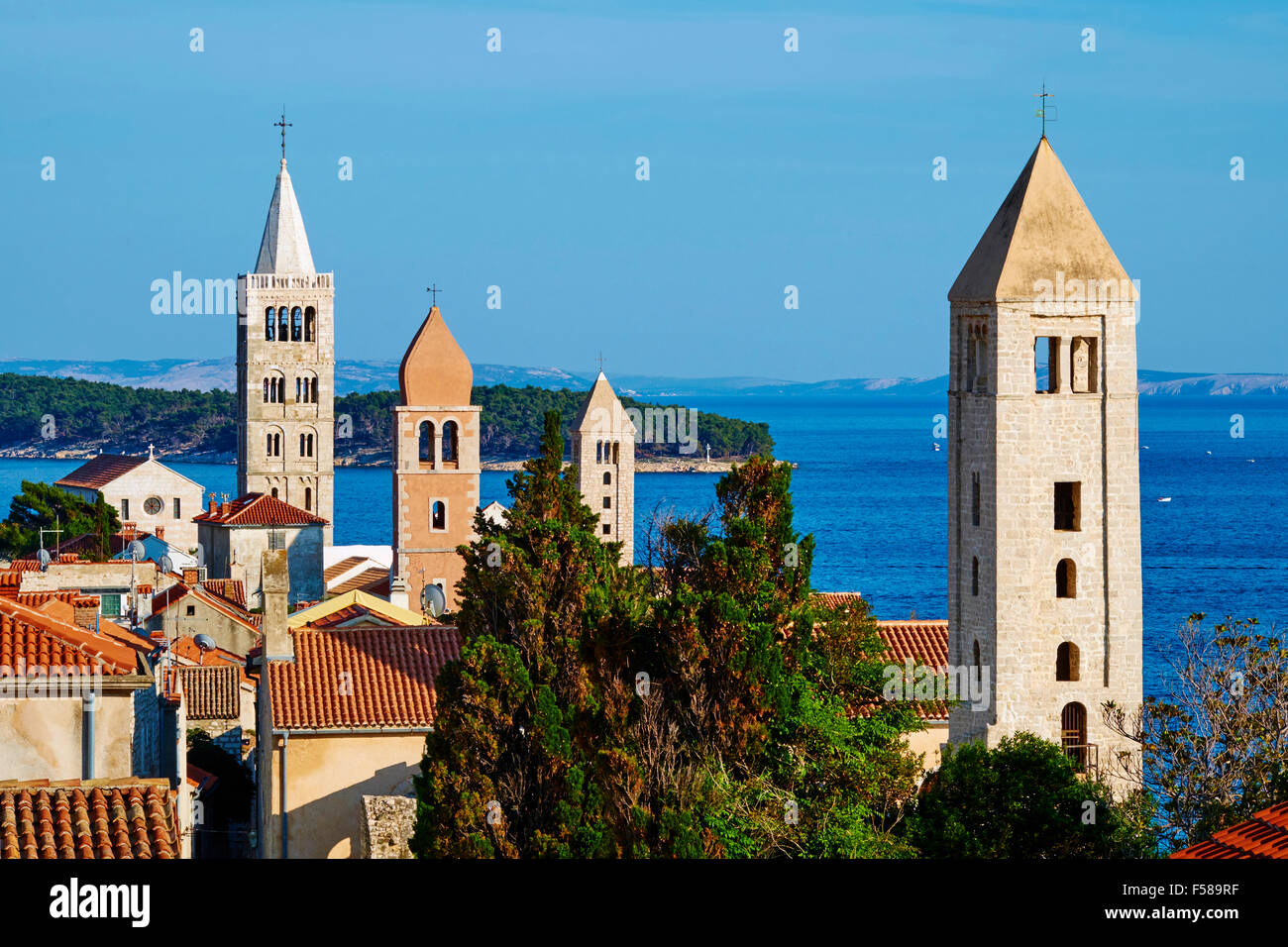 Croatia, Kvarner bay, island and city of Rab, succession of bell towers - Stock Image