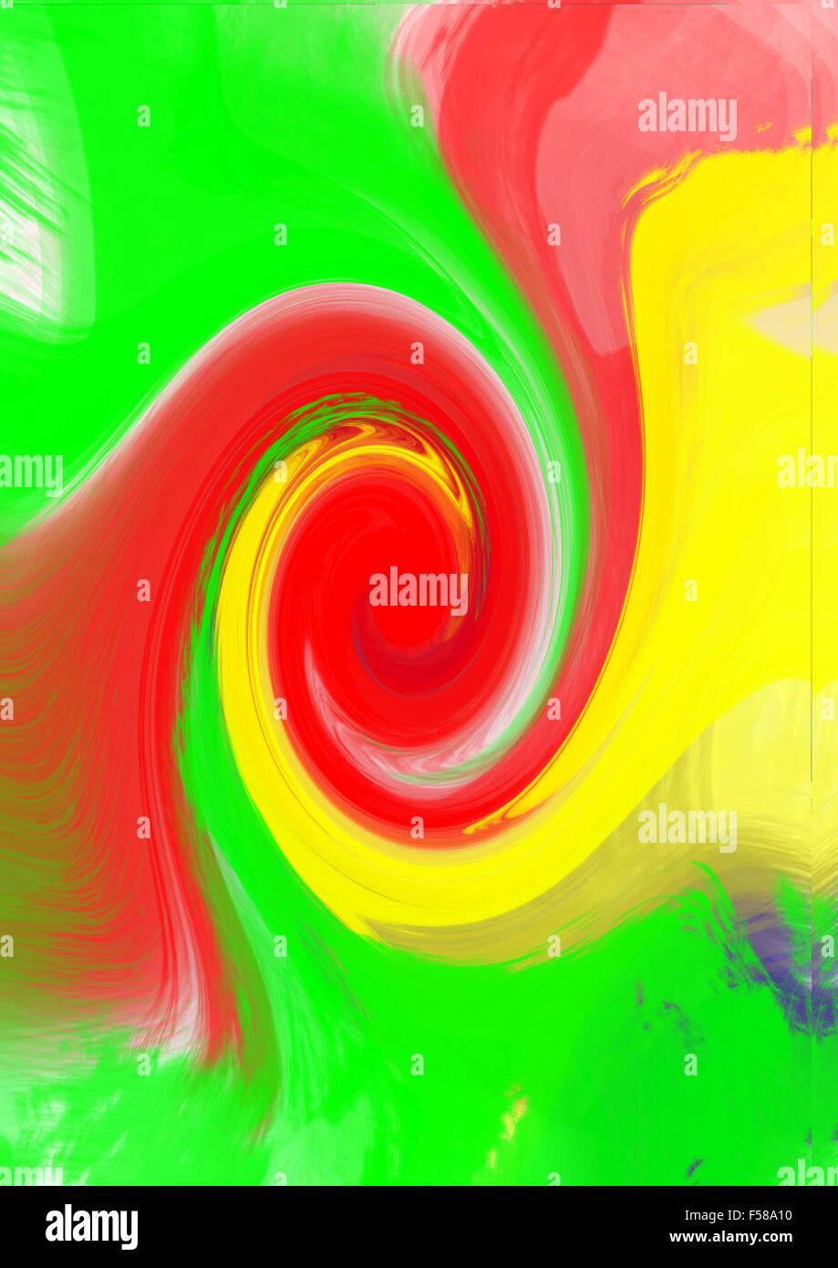 red green yellow colored swirls - Stock Image