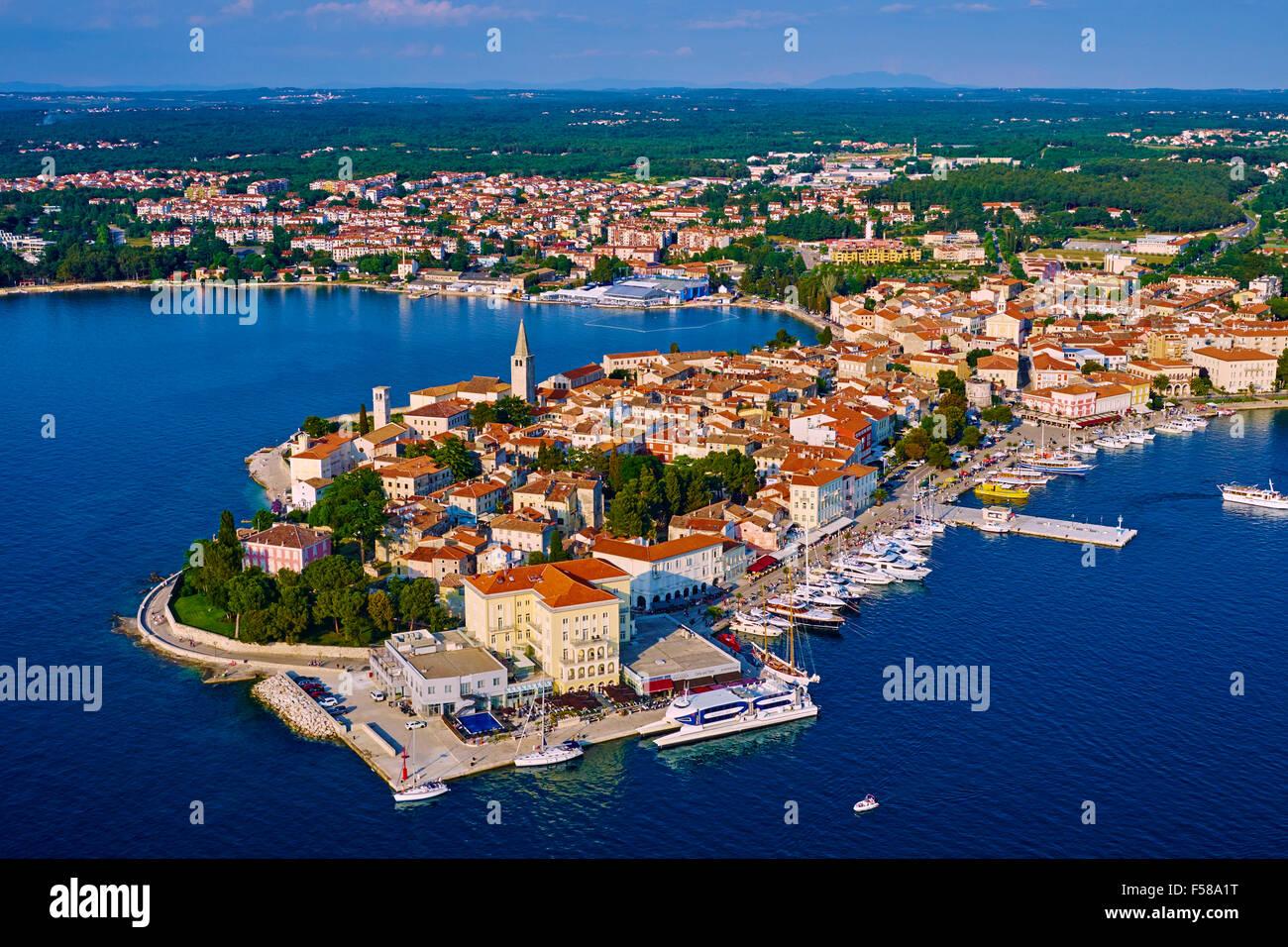 Croatia, Adriatic coast, Istria, village of Porec, aerial view - Stock Image