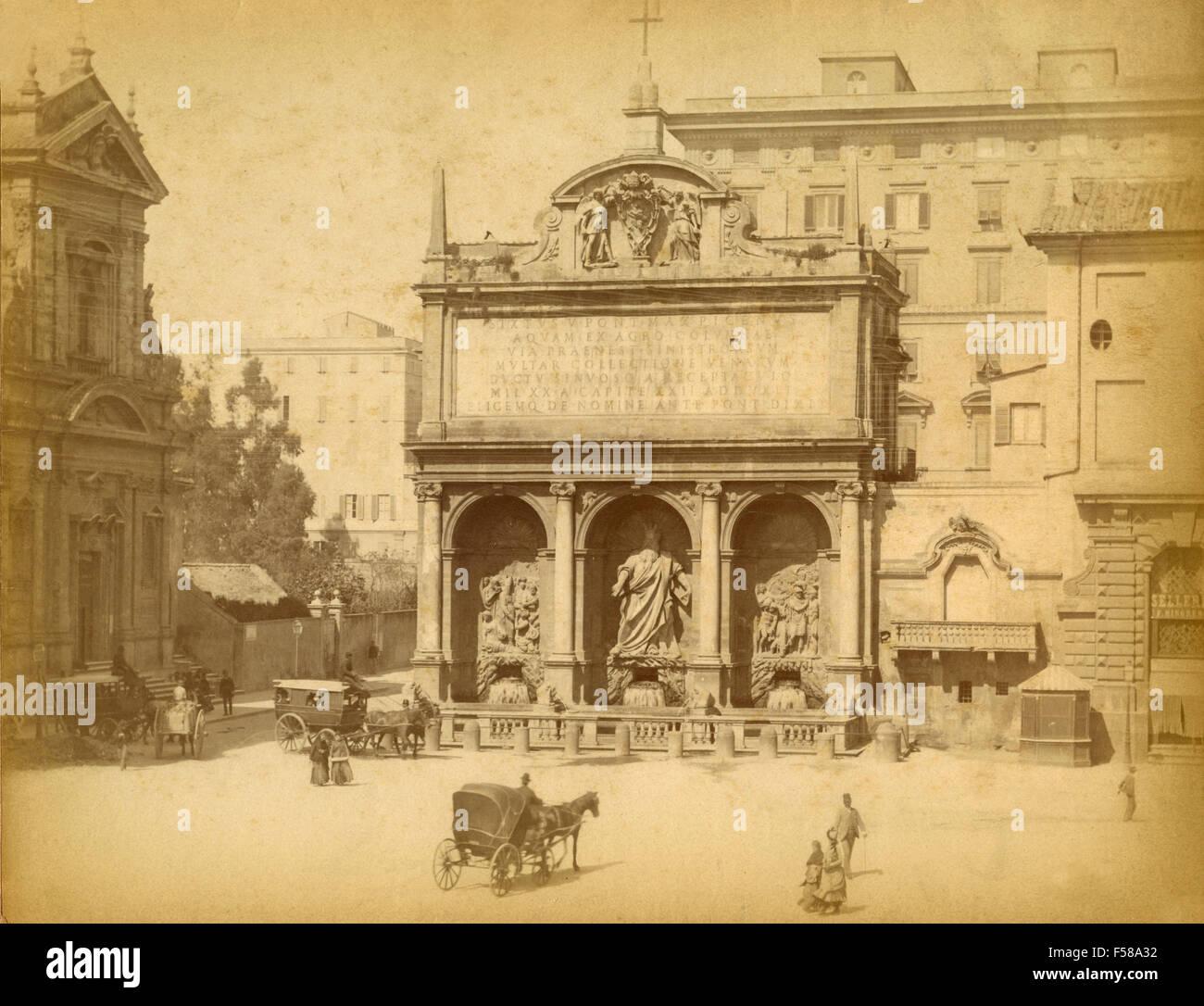 The Fountain of the Acqua Felice, Largo Santa Susanna, Rome, Italy - Stock Image
