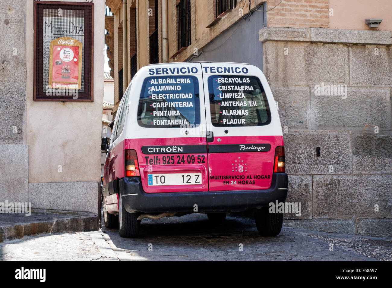 Toledo Spain Europe Spanish narrow street alley van Citroen trade