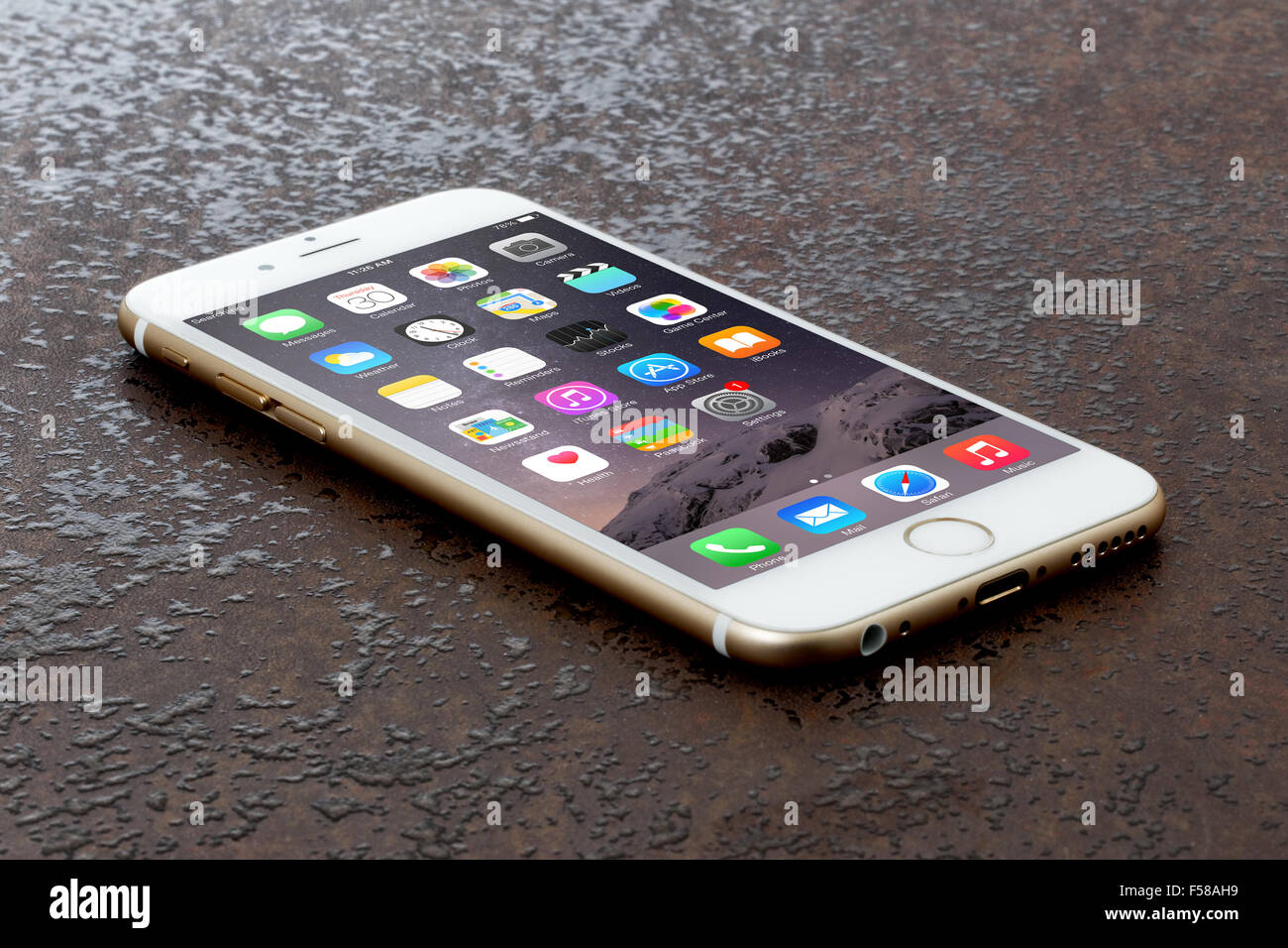 Golden Iphone 6 On Stone Table Stock Photo 89309061 Alamy