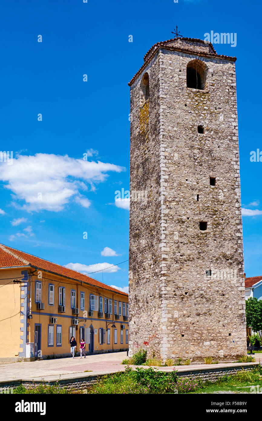 Montenegro, central region Podgorica capital city, ancient ottoman trict, clock tower used to announce the priest - Stock Image