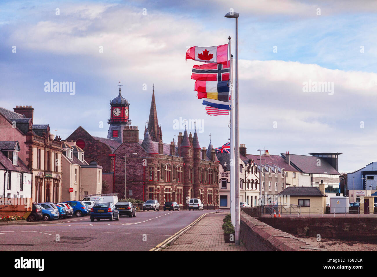 South Beach Street, Stornoway, with the old Council Building, Isle of Lewis, Outer Hebrides, Scotland, UK - Stock Image