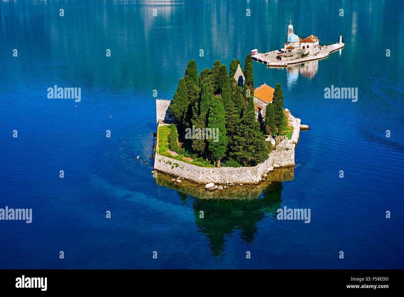 Montenegro, Adriatic coast, Bay of Kotor, Perast, Island of St. George and Our Lady of the Rock island - Stock Image