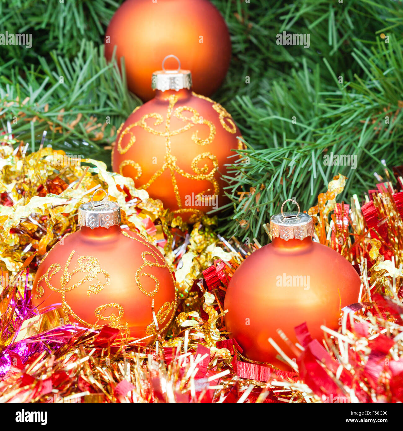 Christmas Still Life Several Orange And Yellow Christmas Baubles Stock Photo Alamy