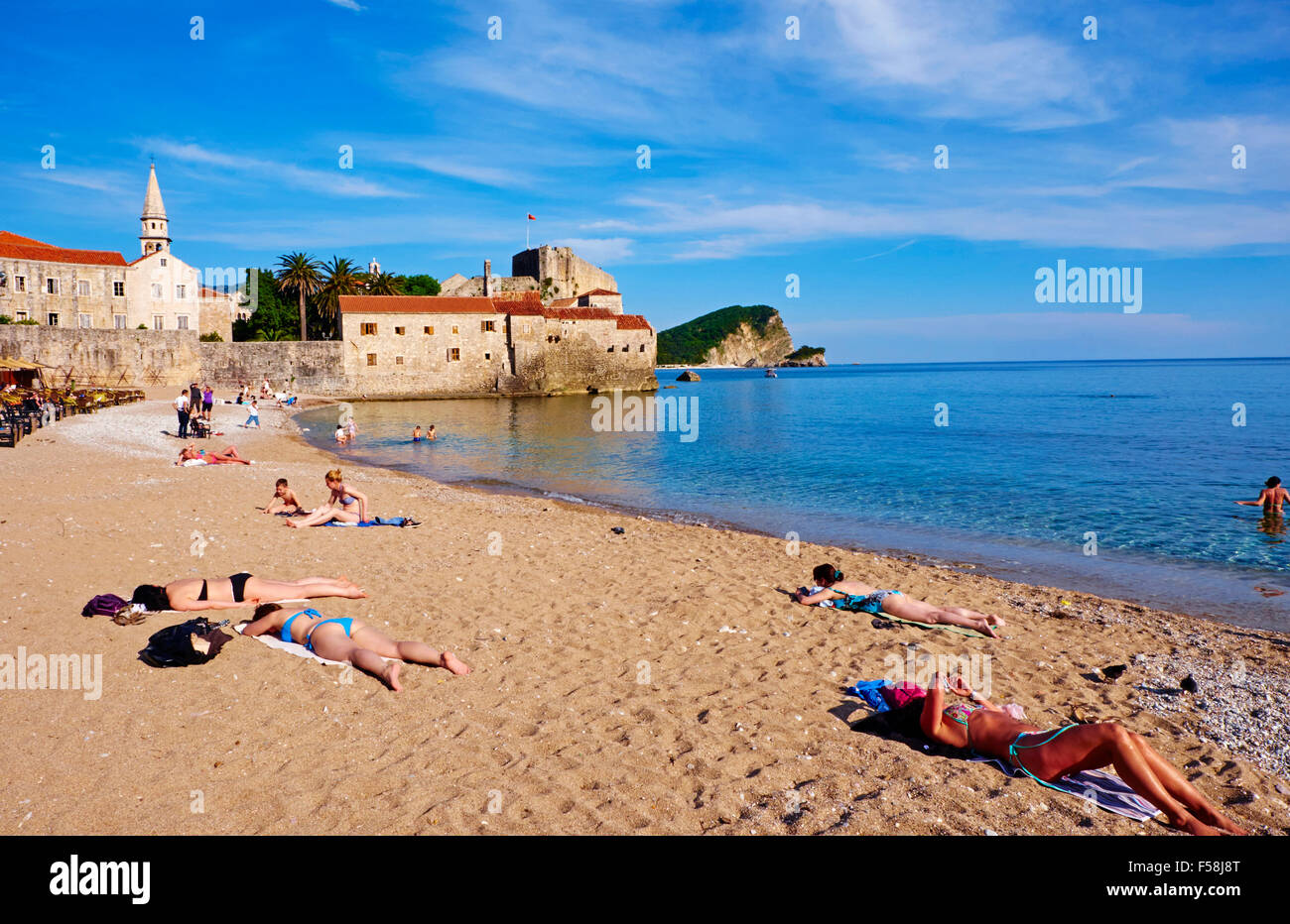 Montenegro, Adriatic coast, old city of Budva, Stari Grad Stock Photo