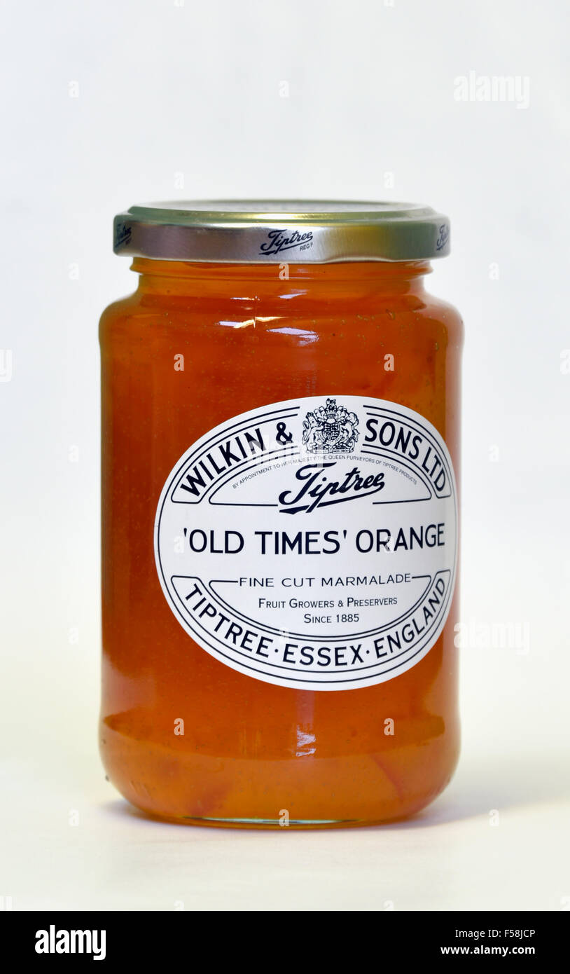 Jar of Wilkin and Sons Limited Tiptree 'Old Times' Orange Fine Cut Marmalade. - Stock Image