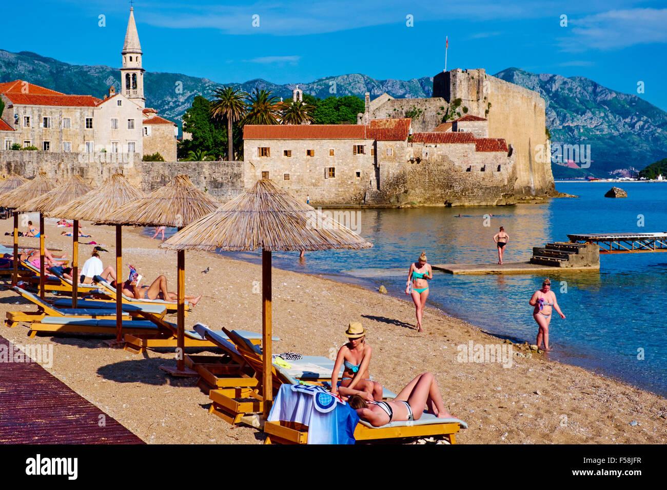 Montenegro, Adriatic coast, old city of Budva, Stari Grad - Stock Image