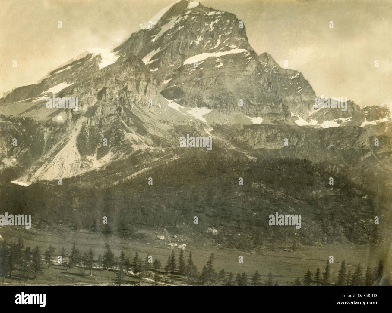 The Mont Blanc seen from Courmayeur, Italy - Stock Image
