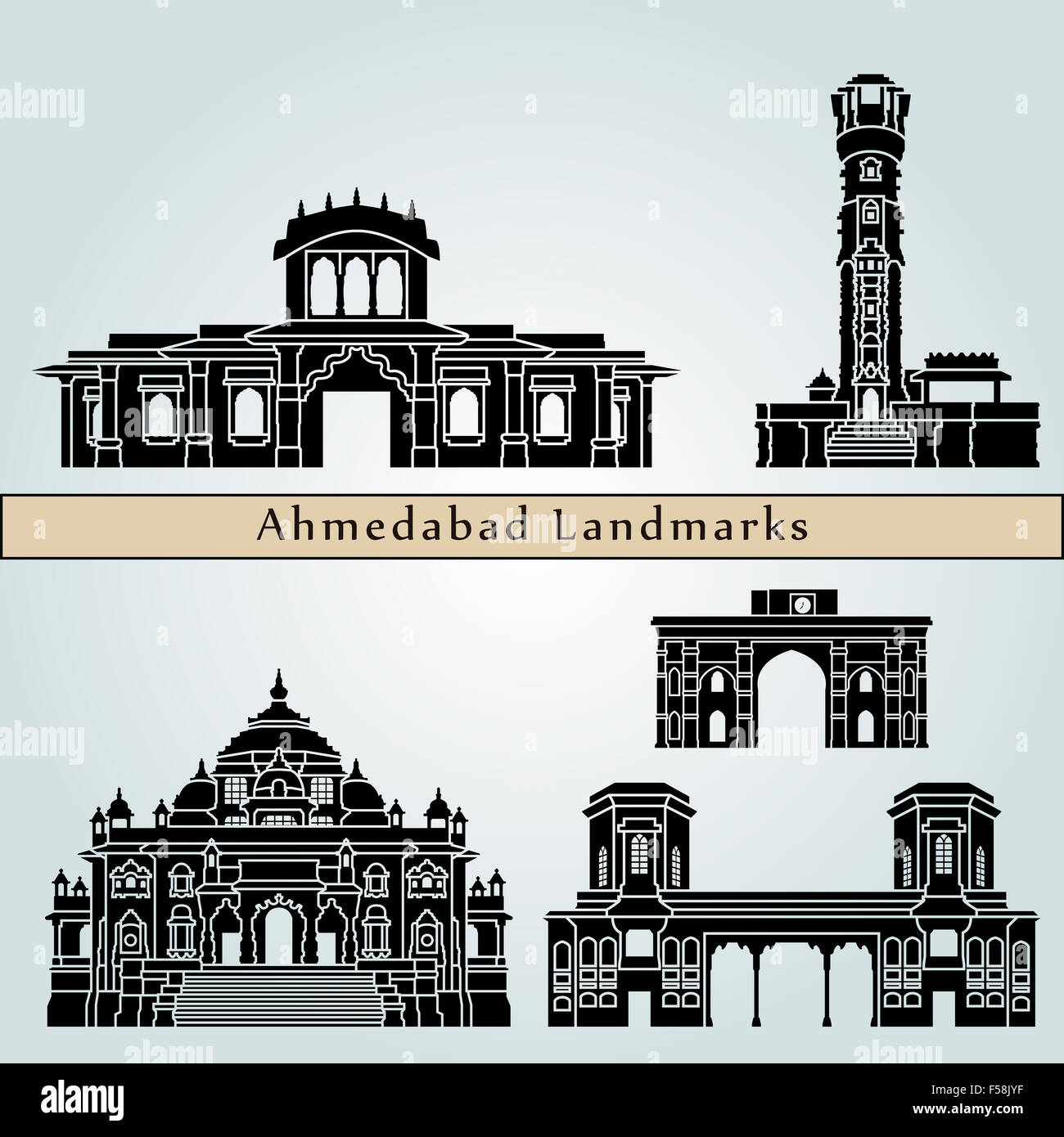Ahmedabad landmarks and monuments isolated on blue background in editable vector file - Stock Image