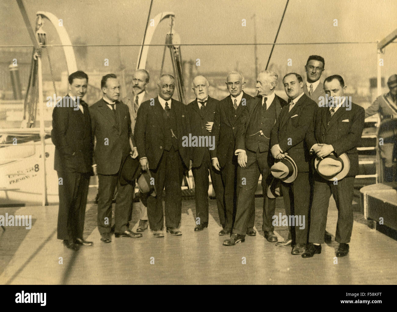 Group Conference Interplanetary Peace and Commerce, on board the ship Conte Verde, Italy - Stock Image