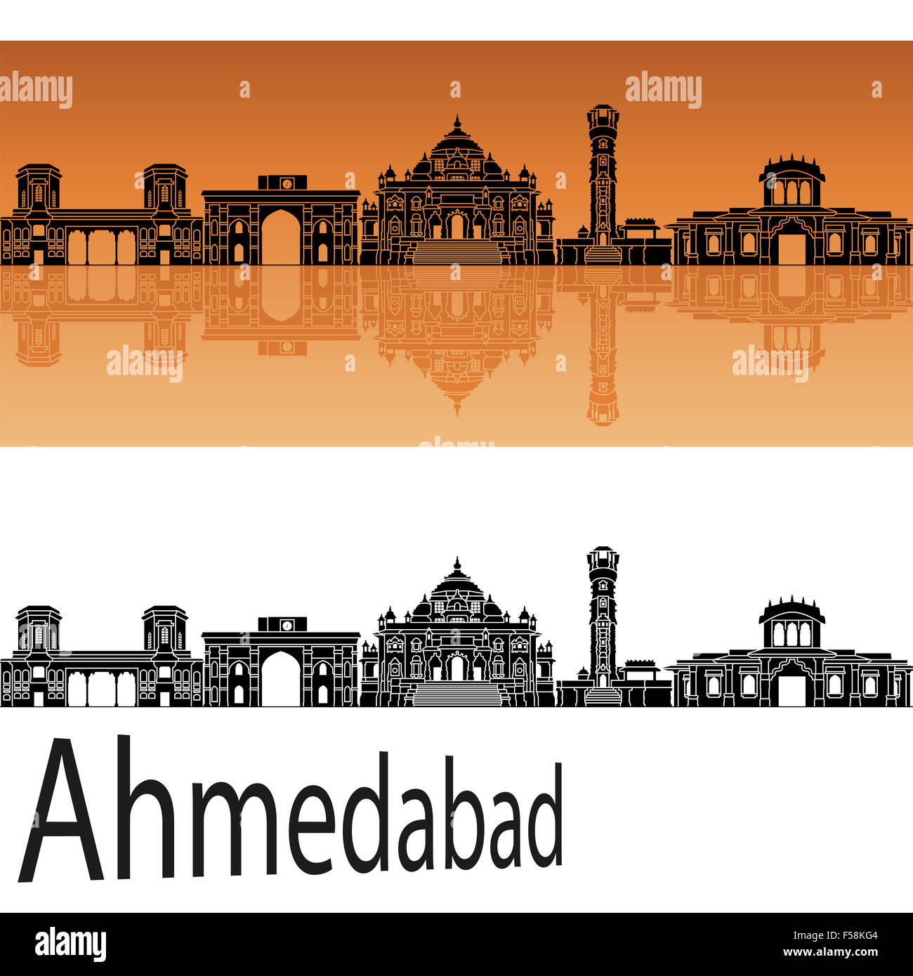 Ahmedabad skyline in orange background in editable vector file - Stock Image