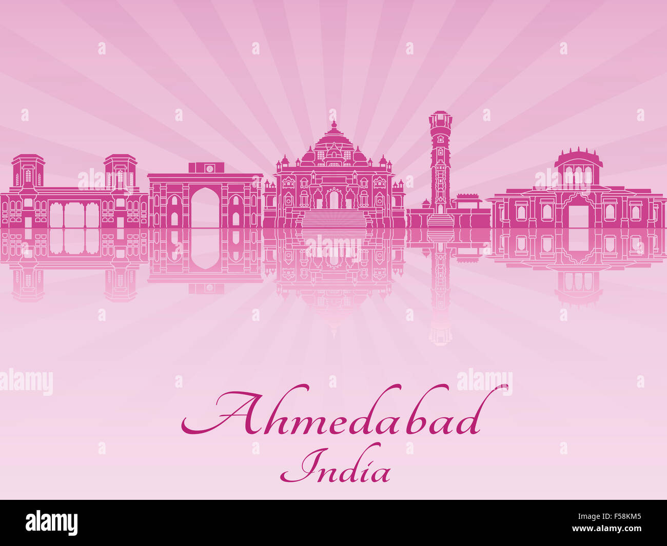 Ahmedabad skyline in purple radiant orchid in editable vector file - Stock Image