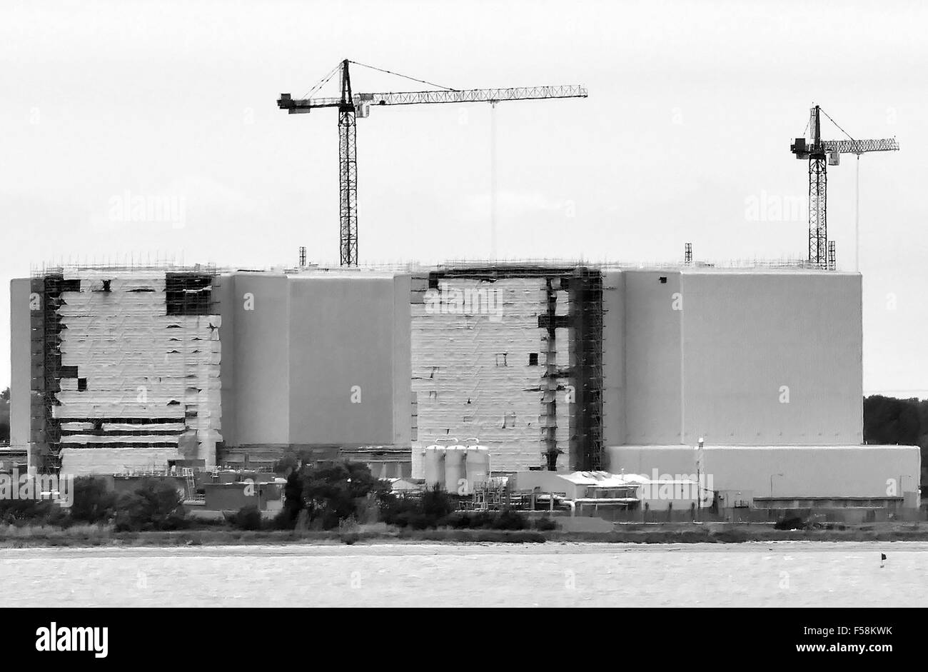 Bradwell nuclear power station Essex, photographed from West Mersea, Mersea Island looking across the river Blackwater - Stock Image