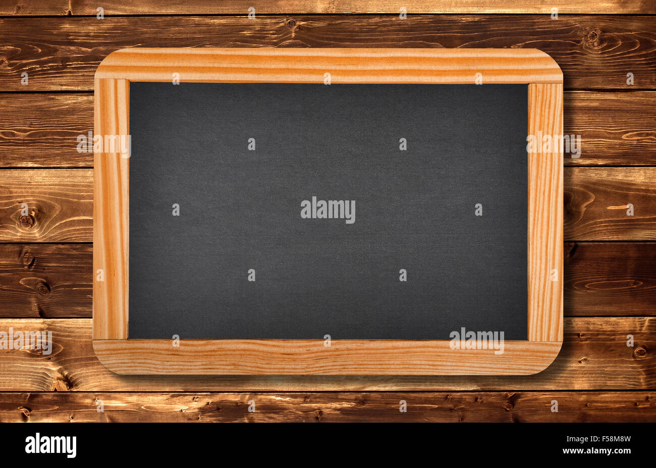 blackboard on a wood background Stock Photo