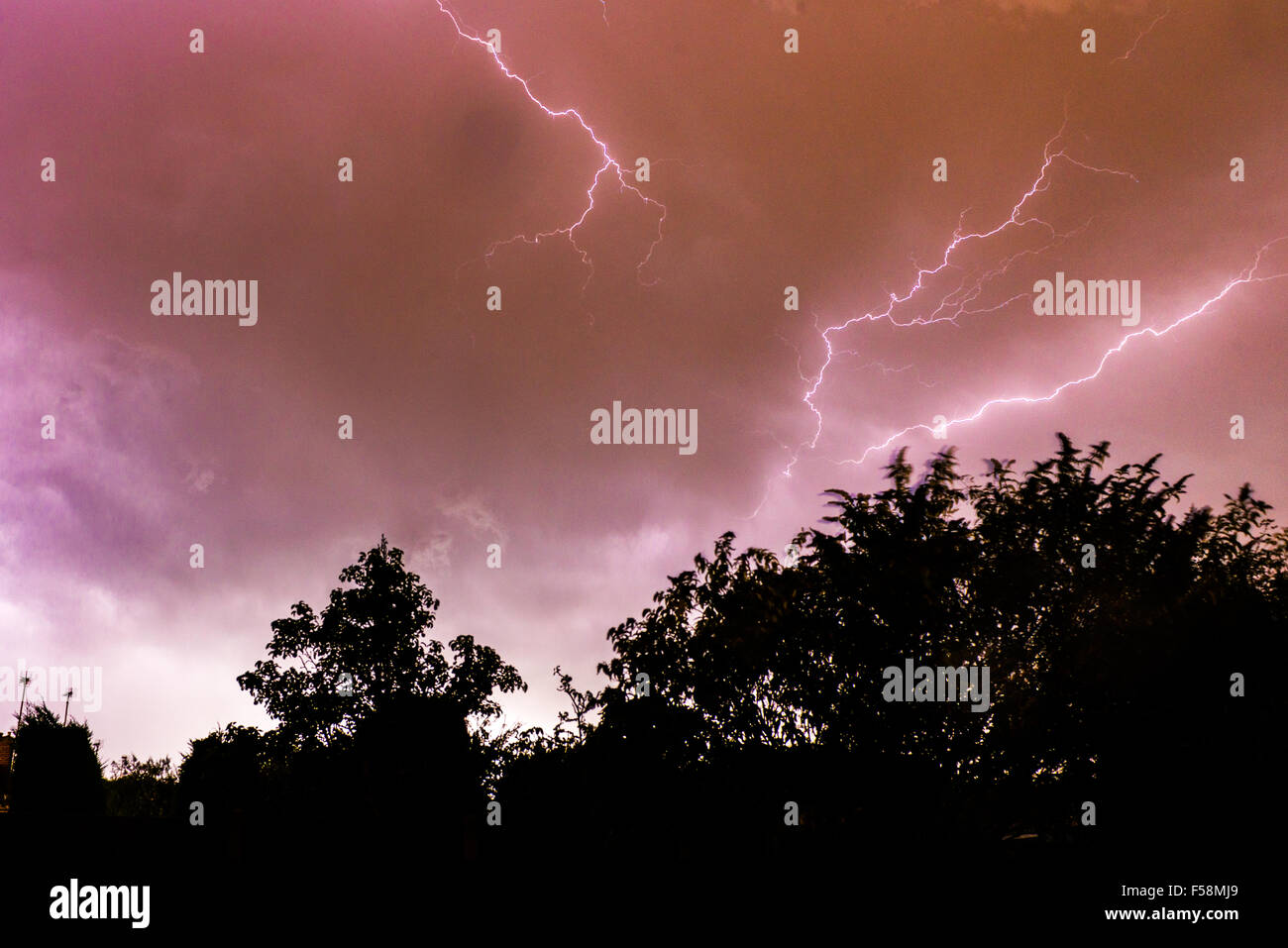 Lightning Storm Over Kenk UK - Stock Image