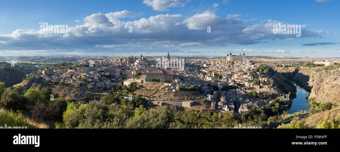 Panorama, pano of ancient city of Toledo, Spain, Europe - Stock Image