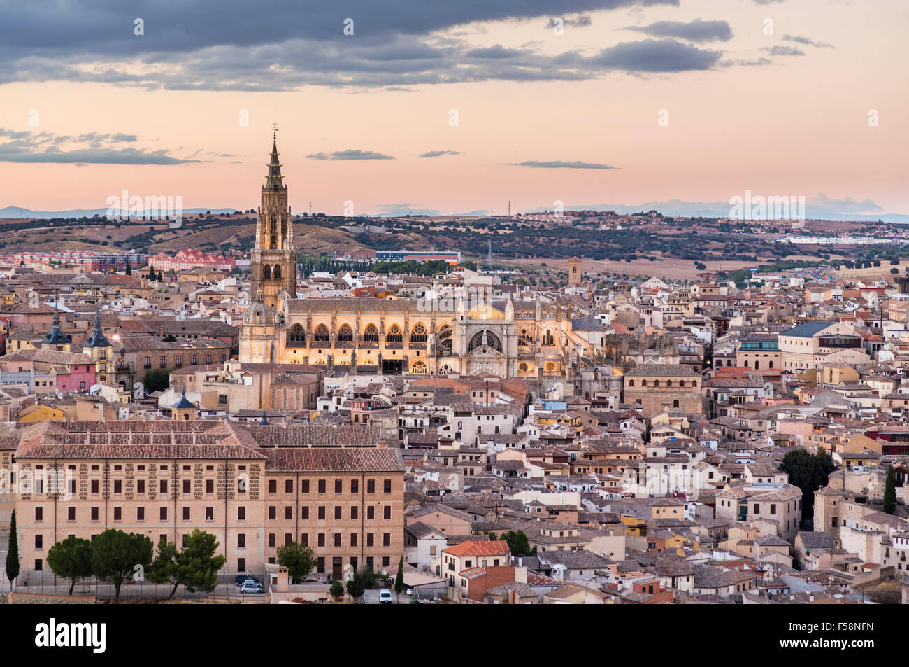 Toledo, Spain, Europe - Sunset cityscape at dusk with cathedral in the ancient city - Stock Image