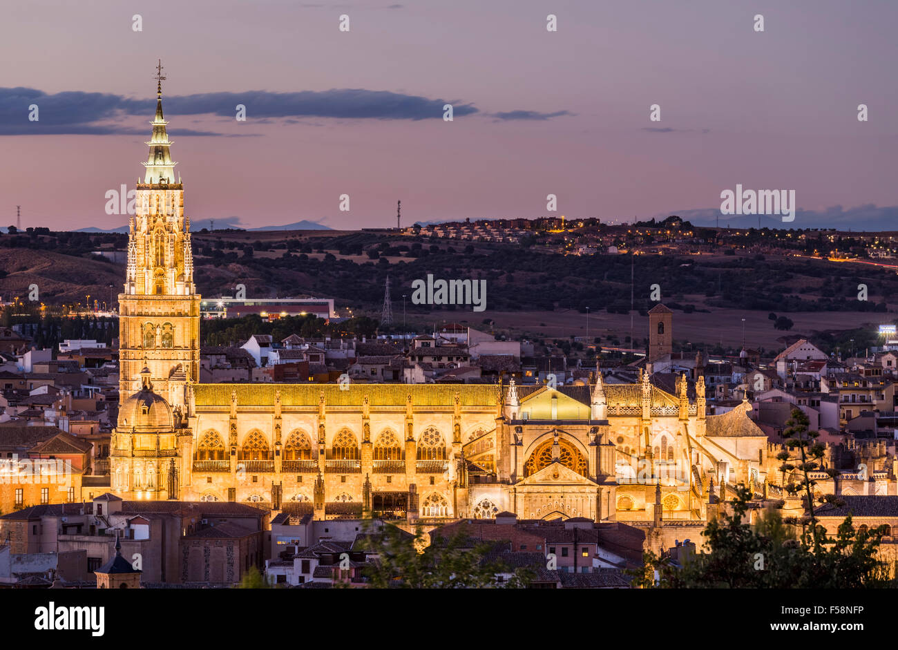 Toledo, Spain, Europe - with floodlit Toledo cathedral at night dusk - Stock Image