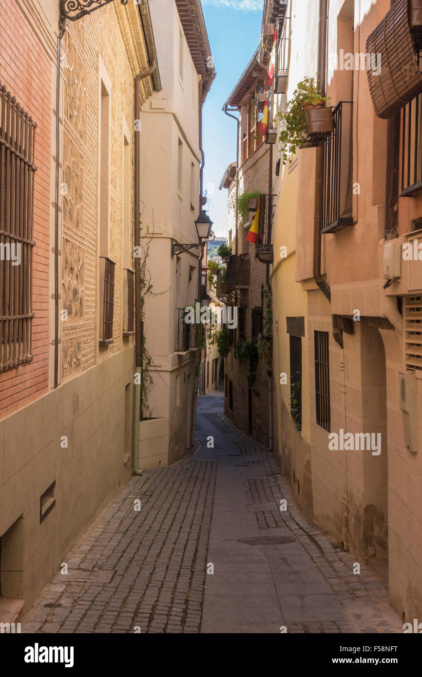 Narrow streets in the old city of Toledo, Spain, Europe - Stock Image