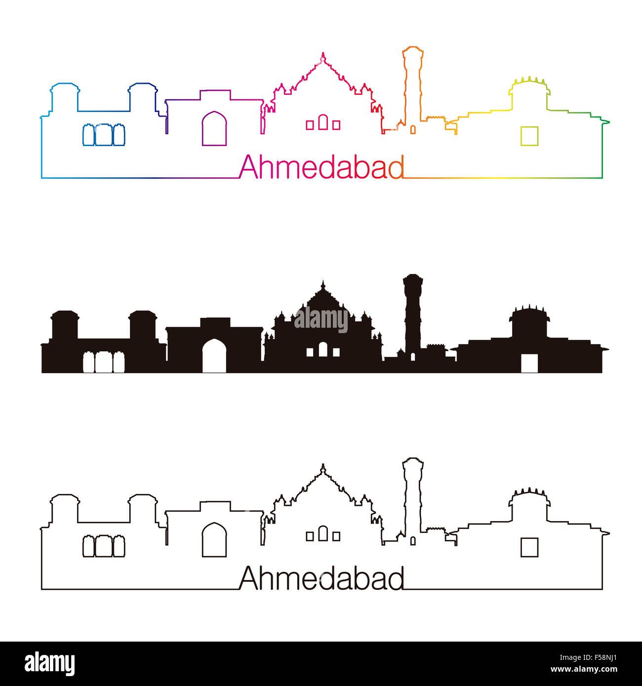 Ahmedabad skyline linear style with rainbow in editable vector file - Stock Image