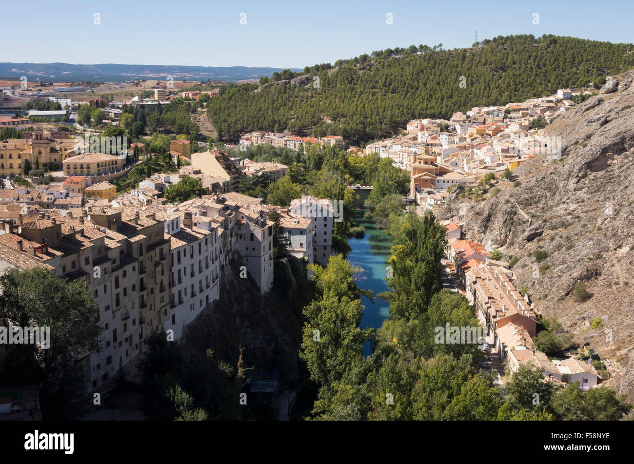 Aerial view of river and town of Cuenca in Castilla-La Mancha, Spain, Europe - Stock Image