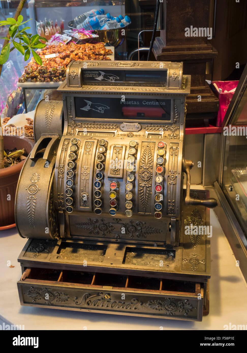 Old antique cash register till, Spain - Stock Image