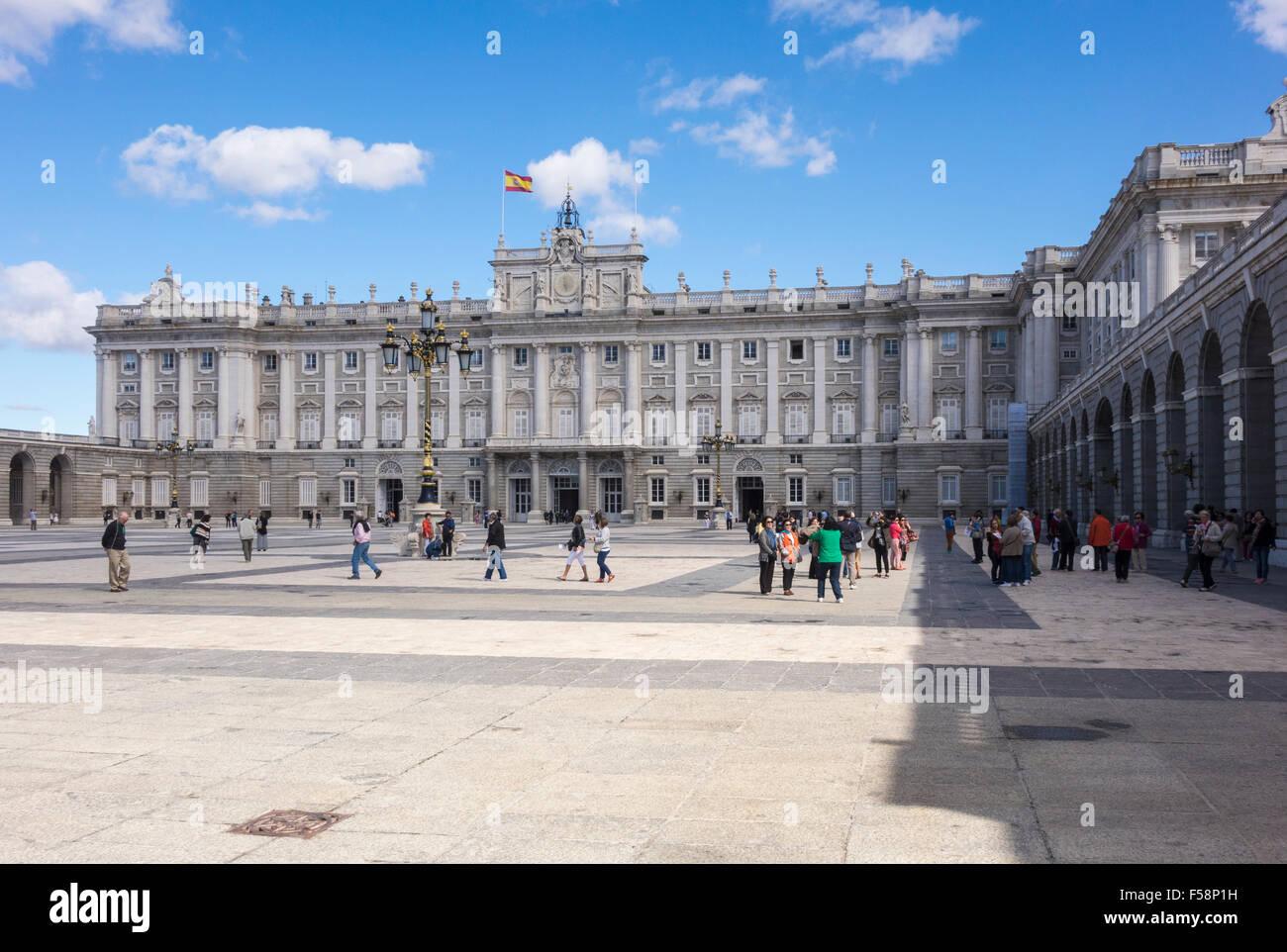 Main entrance to Royal Palace of Palacio Real in Madrid city center, Spain, Europe - Stock Image