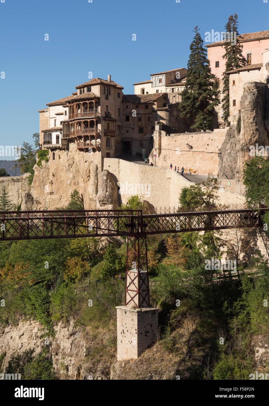 Bridge of St Paul and old town of Cuenca  in Castilla-La Mancha, Spain, Europe - Stock Image