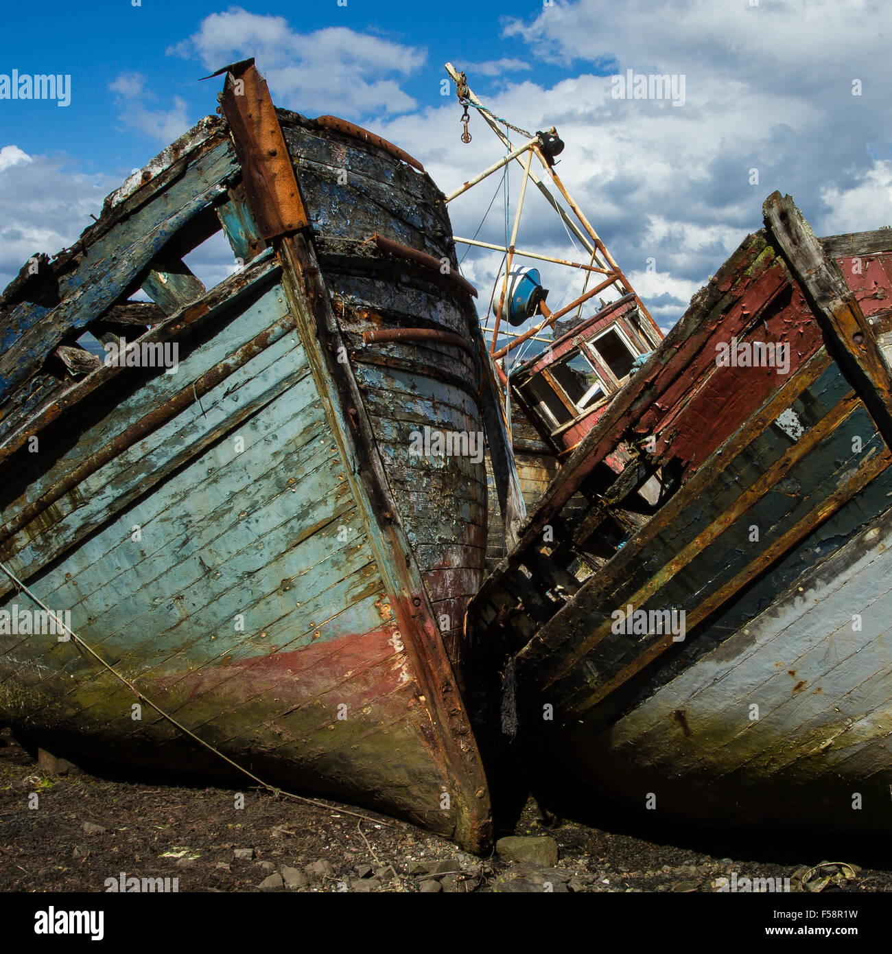 Old Boats on Mull - Stock Image