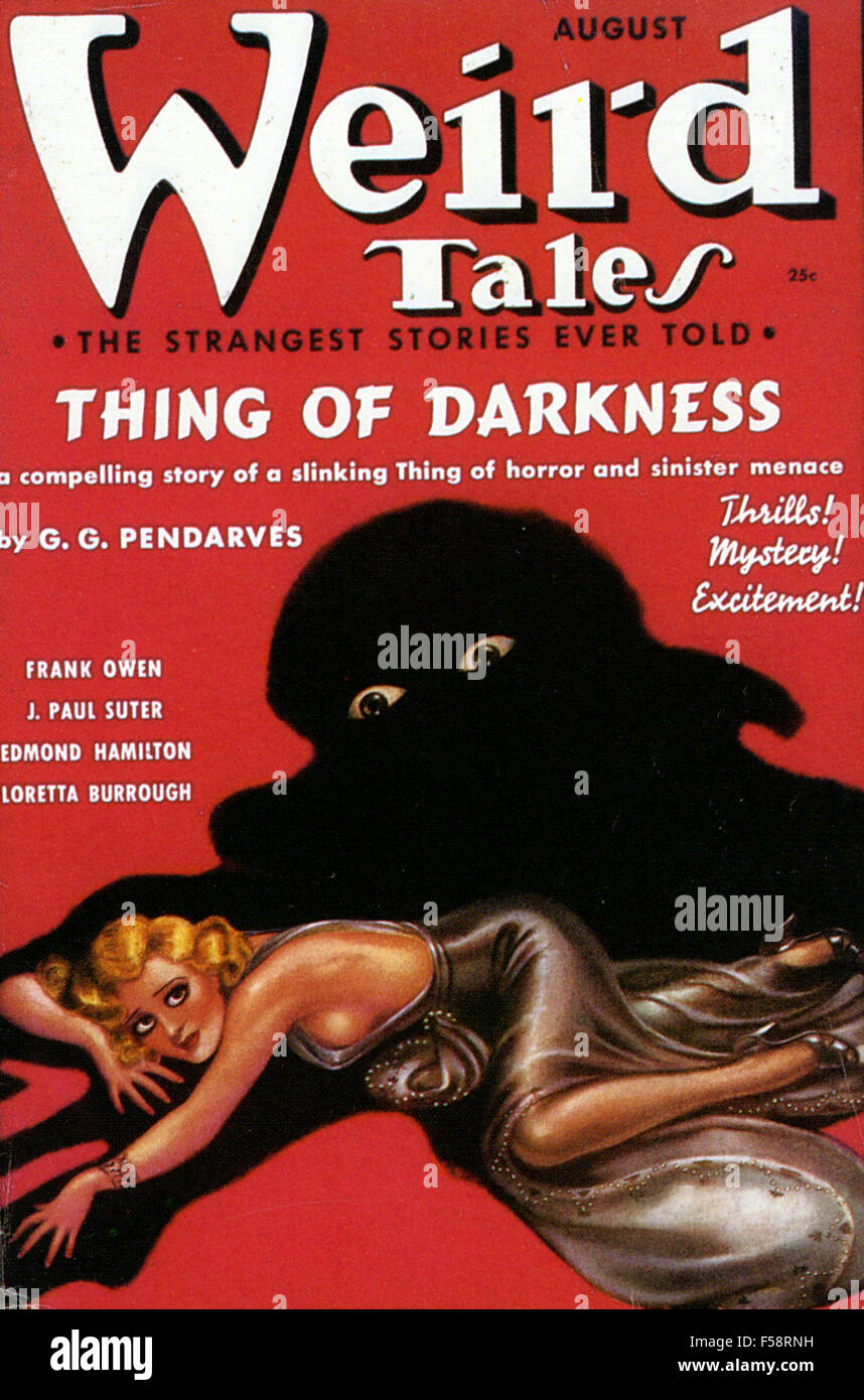 WEIRD TALES  August 1937 cover of American fantasy magazine - Stock Image