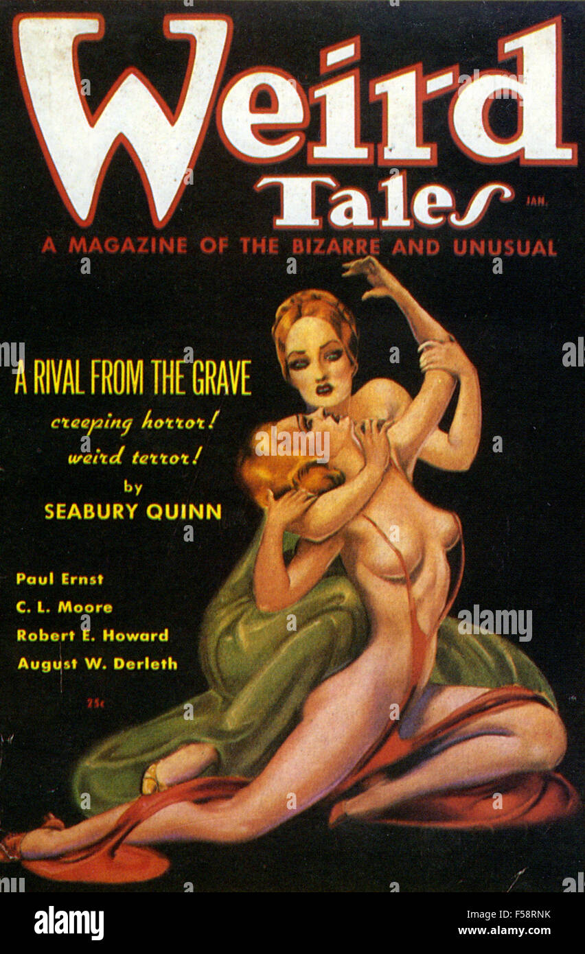 WEIRD TALES  January 1936  cover of American fantasy magazine - Stock Image
