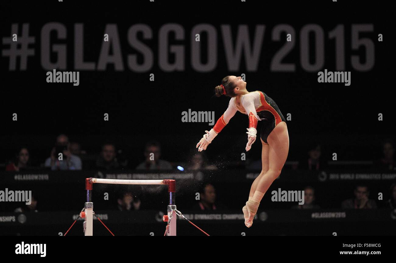Glasgow, Scotland, UK. 29th October, 2015. Pauline Schaefer (GER) on the uneven bars. Womens All-Around final. 2015 Stock Photo