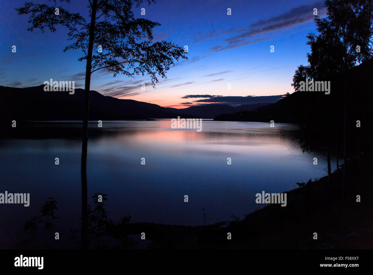 fjords at 1.00 am on Summer - Stock Image